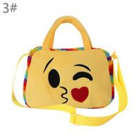 10173aa2ca Kids Plush Emoji Hand Bag Cartoon shool Bags smiling Face shoulder bag for  baby boys girls child handbags lunch bag multifunction