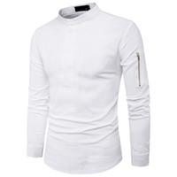 moda masculina coreana do hip-hop venda por atacado-Hip Hop Meio Botão Camisas Masculinas Gola de Moda Manga Com Zíper Blusa Magro Coreano Estilo Camisa 2XL Branco Preto Cor Venda Quente