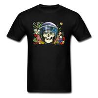 flores do pai venda por atacado-Sorria Crânio Capacete Em Camisas negras dos homens T Flor Pintura Casual Verão Tops T Camisa do Dia Dos Pais Presente Personalizado Tshirt