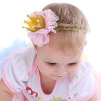 ingrosso belle ragazze corona-Baby Baby Girl Crystal King Corona in pizzo di cotone Fascia Baby Pretty Headwear New Born fotografia accessori per capelli