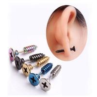 Wholesale mens punk earrings - Stainless Steel Jwwelry Punk Style 5 Colors Stud Earrings Men's Punk Ear Jewelry Rock Gothic Unisex Women Mens Piercing Earrings