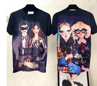 Wholesale black illustrations - 2018 Europe Italy Luxury High Quality Front Couple Printed Back Two Women Illustration Printed T-shirt Fashion Men's Women's T-shirt Casual