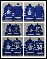 camisa de folha de bordo dos miúdos venda por atacado-mulheres crianças 2018-2019 adladsToronto Maple Leafs costurado # 16 MARNER # 34 MATTHEWS / Blank Blue Hockey Jerseys Ice