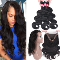 Wholesale 14 curly remy hair weave online - 8A Mink Brazilian Straight Body Wave Virgin Hair Bundles With Full Lace Closure Remy Human Hair with Full Lace Closure