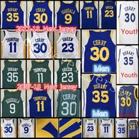 Wholesale Kevin Thompson - 2017-18 New Youth Men's #30 Stephen Curry 35 Kevin Durant jersey Men 11 Klay Thompson 9 Andre lguodala 23 Draymond Green stitched jerseys