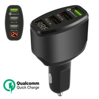 Wholesale cell phone charging display - 3-Port USB 4.2A Quick Car Charger Adapter LED Display Fast Charging for Cell Phone