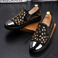 Men Luxury Gold Spiked Loafers Casual Shoes Bling Sequins Wedding Dress Man  Flats Slip On Shoes Moccasins a11416917b48