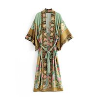 Wholesale japan dresses sleeves - Womens Green Flowers Peacock Printed Japanese style Dressing Gown Waist Bow Tie Seven Points Sleeves Luxury Dressing Gown New Coat