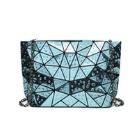 falte über kettenbeutel großhandel-2018 neue berühmte Marke Frauen Clutch Handtasche Kette Schulter Hologramm Tasche Wassertropfen Geometrische Fold Over Tasche