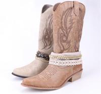 yüksek motosiklet botları toptan satış-Amet Kadın PU Deri Diz Yüksek Boot Kovboy Cowgirl Dantel ve Zincir Dekorasyon ile Batı Ayakkabı Çizmeler Çizmeler Motosiklet Çizmeler