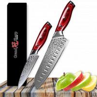 facas de aço inoxidável japonês venda por atacado-Faca de Damasco Set 2 pcs Damasco VG10 Aço Inoxidável Japonês Santoku Utility Facas de Cozinha Facas de Cozinha Pro Ferramentas NOVO