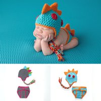 Wholesale crochet baby clothes for sale - Newborn Crochet photography Sets Baby Photography Props dinosaur knit hat shorts set Cartoon Halloween infant Cosplay clothing C5103