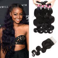 Wholesale buy closure - Buy 8A Mink Hair Body Wave 4 Bundles With Closure Virgin Brazilian Peruvian Indian Malaysian Human Hair Weave Bundles With Closure Wholesale
