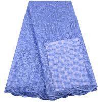 fransız dantel mavisi rengi toptan satış-Gökyüzü Mavi Renk Son Fransız Nijeryalı Danteller Kumaşlar Yüksek Kalite Tül Afrika Danteller Kumaş Düğün Afrika Fransız Tül Dantel