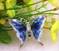 pedrería en forma de mariposa al por mayor-Abrigo de las mujeres Vintage Butterfly Broche Pin Rhinestones- Crystal Antique Cute Animal forma corsages Clips de la bufanda Broches para mujeres niñas