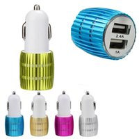 Wholesale Iphone 4s Leads - Metal Alloy Shell With led Light 3.1A 2.1A Dual Port USB Car Charger Adapter for Apple iPhone 5 5S 5C 4 4S Samsung Galaxy