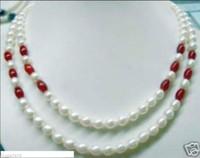 collar de perlas de rubí al por mayor-¡Hermoso! 7-8mm Collar de perlas de rubíes y perlas blancas 2 filas 17-18 pulgadas