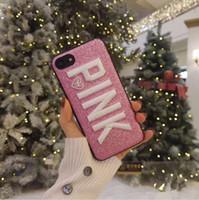 rosa bling telefon fall großhandel-3D Stickerei ROSA Glitter Bling Telefon Fall für iPhone 6s 7 8 plus X Abdeckung für Samsung Galaxy S8 S9 plus Hinweis 8