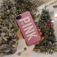fundas de iphone rosa al por mayor-Caja del teléfono bling bling glitter PINK para iphone 6s 7 8 plus X cover para samsung galaxy S8 S9 plus Note 8