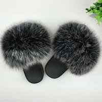 Wholesale sky blue ladies shoes for sale - Group buy Real Fur Slippers Women Fox Home Fluffy Sliders With Feathers Furry Summer Outdoor Flats Sweet Ladies Candy Color Shoes Size