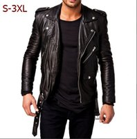 Wholesale Men Leather Jackets Slim Fit - New Men Fashion Hot Black Friday Leather Jacket Black Slim Fit Biker Motorcycle Lambskin Jacket