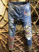 jeans moda fábrica venda por atacado-Famoso luxo italiano Marcas Dolc fábrica slim fit Outono moda patchwork denim rasgado zipper biker skinny 3D Impresso calças de brim buraco para homens