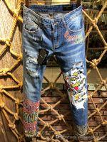 3d baskı fabrikası toptan satış-Ünlü lüks İtalyan Markaları Dolc fabrika slim fit Sonbahar moda patchwork denim erkekler için yırtık fermuar biker sıska 3D Baskılı kot delik