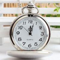 relojes antiguos de plata de las mujeres al por mayor-Grandes relojes de bolsillo pulidos lisos redondos con cadena larga Relojes de cuarzo antiguos para mujeres hombres niños regalo de navidad plata negro 2 colores