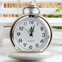 silber antike uhren frauen großhandel-Große runde glatte polnische Taschenuhren mit langen ChainQuartz Antique Uhren für Frauen Männer Kinder Weihnachtsgeschenk Silber Schwarz 2 Farbe