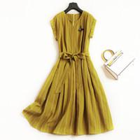 ingrosso abiti di lino gialli-Le donne moda elegante abito di lino a righe gialle a maniche corte cinture che borda abiti a-line nuova estate 2018