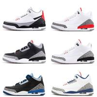 basketball shoe toptan satış-III Siyah beyaz Çimento üç Basketbol Ayakkabı tinker mavi kasırga kırmızı Yeni 2018 sneakers erkek eğitmenler Boyutu 7-13 Michael Spor