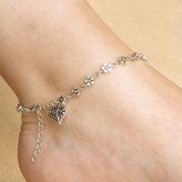 neue fußkettchen design großhandel-Neue Design Blume Frauen Silber Perlenkette Fußkettchen Knöchel Armband Barfuß Sandale Strand Unterstützung FBA Drop Shipping G555S