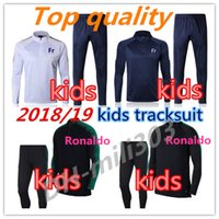 Wholesale Fr S - 2018 World Cup RONALDO kids soccer training suit18 19 PORTUGAL FR POGBA GRIEZMANN youngster football training sportswear tracksuit chandail