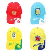 brezilya kepleri toptan satış-Stokta 2018 Dünya Kupası Futbol Taraftarları Caps Futbol Tezahürat Malzemeleri Brezilya Arjantin İspanya Şapka Güneş Şapka Beyzbol Şapkası