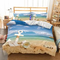 Wholesale full size blue bedding online - 3D Anchor Beach Pattern Printed Twin Full Queen King Bedding Sets All Sizes Duvet Cover No Filler