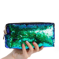Wholesale 200pcs Mermaid sequins pencil bags for students women cosmetic bags clutch gold pink black colors