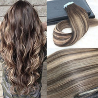 Wholesale double tape hair extensions pieces online - Remy Tape in Hair Extensions Balayage Color Dark Brown Fading to Blonde Mixed Unprocessd Real Hair Seamless g