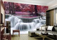 mural paper rolls Australia - Waterfall Photo Mural Printed Wall paper Rolls Textured Wallpaper for Living Room Bedroom TV Background Landscape Murals 3D