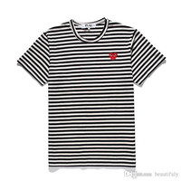 Wholesale off panel online - CDG PLAY commes mens designer t shirts OFF With Heart sport tee Shirts des garcons White Pablo stripe Shirts For Summer vetements