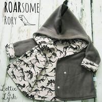 erkek dinozor ceketi toptan satış-Bebek erkek dinozor mont 2018 Sonbahar Kış çocuk Hoodies Hırka Ceket çocuk Dış Giyim çocuk Giyim C4537
