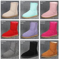 Wholesale round flat gold chain - Plus Size US3 Ugs Women Snow Boots Classic Style Cow Suede Leather Waterproof Winter Warm Short Boots Brand Ivg Colors