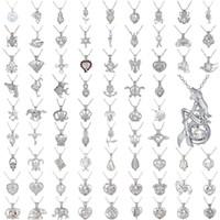 cadenas de camafeos al por mayor-Colgante de plata esterlina Collar Colgante de corazón Cadena de plata Joyería 63 Estilos Pulpo Cameo Corona Moneda Perla larga Collar de ostra Joyería