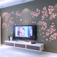 Wholesale Green Living Tv - * LARGE sakura Flower Tree Branches PVC Wall Stickers Decal Bedroom Living Room TV sofa backdrop Decoration Vinyl 3D Wallpaper
