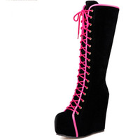 d729f46dd9d6 New Zip Wedges High Heels Increasing Platform Shoes For Women Casual Winter Knee  High Boots Big Size