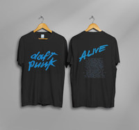ingrosso magliette divertenti vintage-Tee Shirt Vintage DAFT PUNK 2007 ALIVE WORLD TOUR T SHIRT CONCERTO Ristampa personalizzato stampato tshirt hip hop divertente mens tee shirts