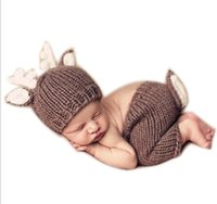 Wholesale crochet baby boy pants resale online - Baby Outfits Deer Newborn Photography Accessories Handmade Crochet Baby Beanie Hats And Pants For Photo Props Baby Photography