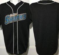 ingrosso maniche da baseball giovanili-2017 Custom Mens S-5XL E Youth S-XL Vintage San Jose Sharks maglia da baseball camicia personalizzata manica corta grande cucita libera nave