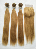Wholesale blonde colored hair resale online - Brazilian Virgin Hair Colored Blonde Human Hair Bundles With Lace Closure Cheap Blonde Straight Hair Weaves With x4 Lace Closure