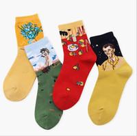 soyut sanat kaynağı toptan satış-Yeni 2018 Bahar Yeni Kadın Retro Sanat Soyut Yağlıboya Kız çiçekler limon Serisi kadın Harajuku Tasarım Komik Çorap