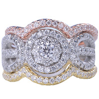 Wholesale Womens 18k Gold Rings - New Luxury Sterling 925 silver ring AAA CZ Zirconia Womens crystal Wedding Rings Classic Engagement personal ring Jewelry wholsale